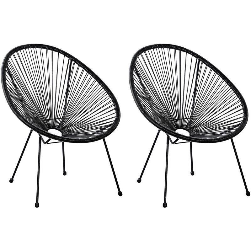 BELIANI Lot de 2 fauteuils spaghetti noir pour intérieur et extérieur ACAPULCO