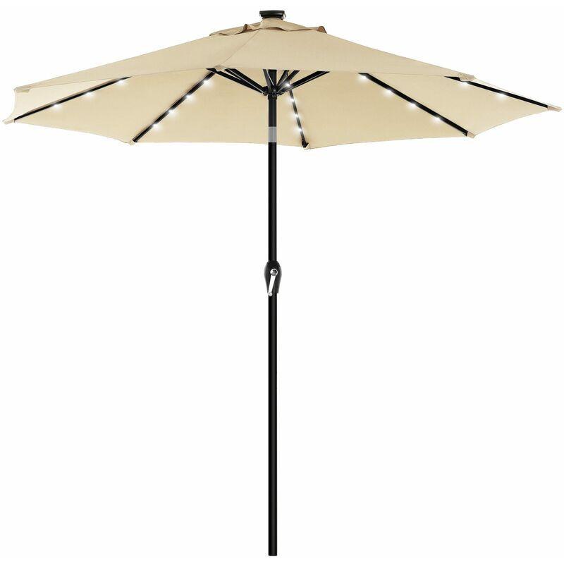 SONGMICS Parasol de jardin avec ampoules LED à énergie solaire, Ombrelle de