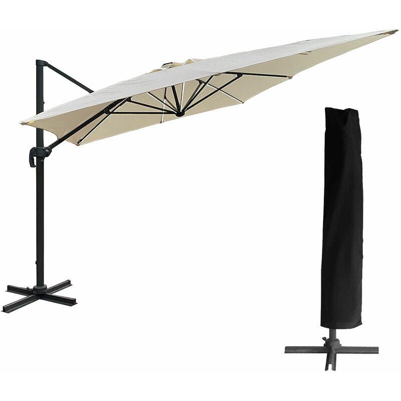 HAPPY GARDEN Parasol déporté MOLOKAI rectangulaire LED 3x4m beige + housse - Beige