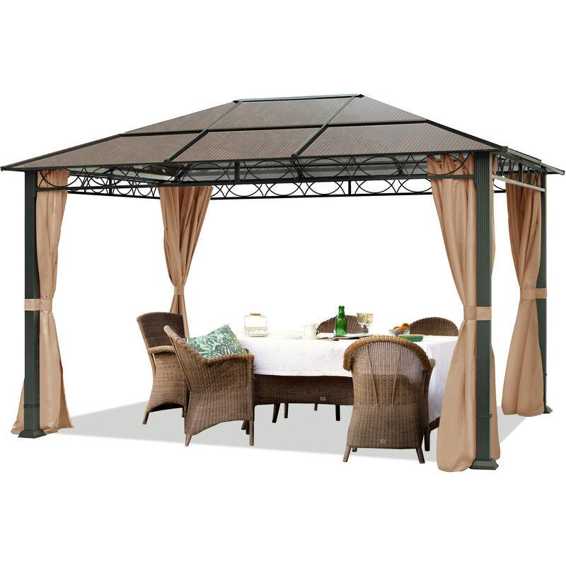 INTENT24.FR Pavillon de Jardin tonnelle ALU Deluxe imperméable de 3x4 m avec Tente