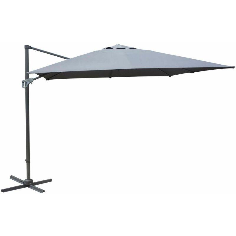 PROLOISIRS Parasol déporté en aluminium 3x4m Dom Gris - Gris