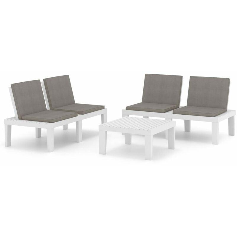 VIDAXL Salon de jardin 3 pcs avec coussins Plastique Blanc
