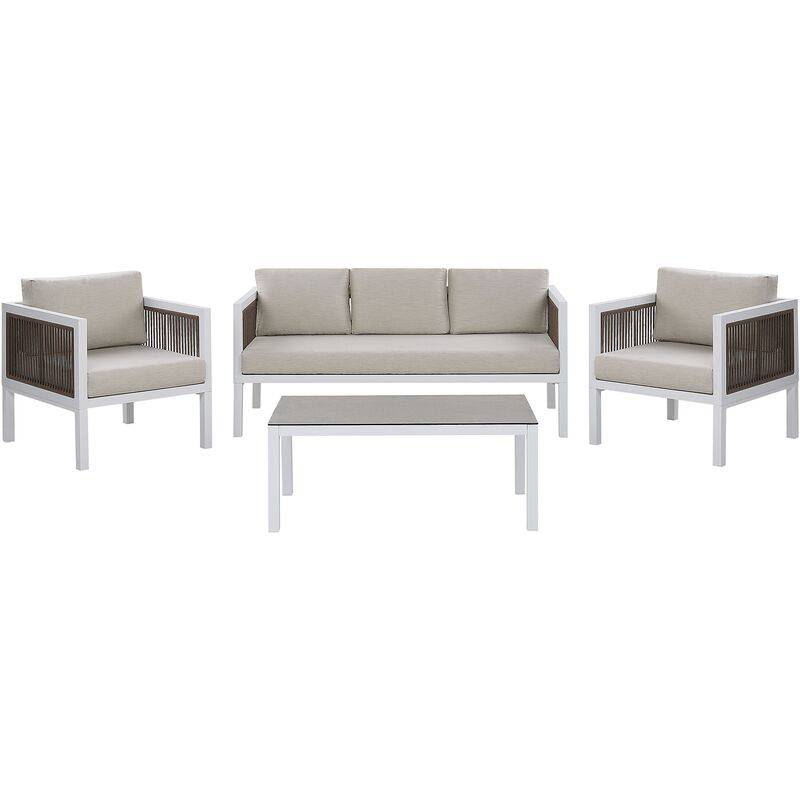 Beliani - Salon de jardin en aluminium blanc et marron BORELLO