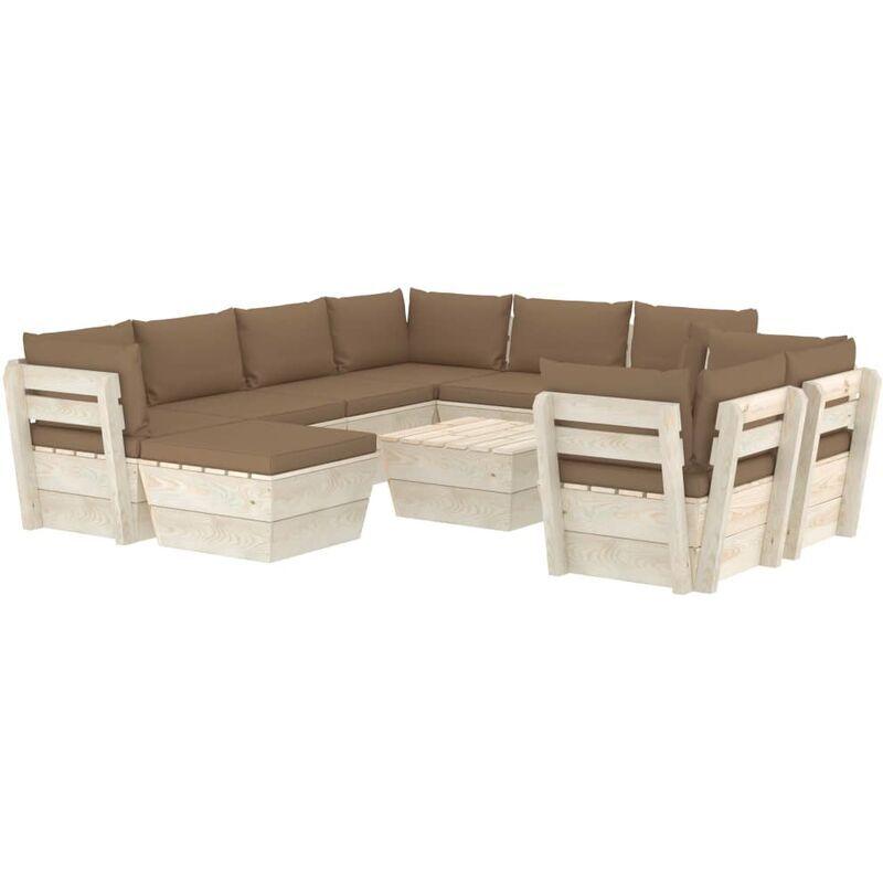 VIDAXL Salon de jardin palette 10 pcs avec coussins Épicéa imprégné