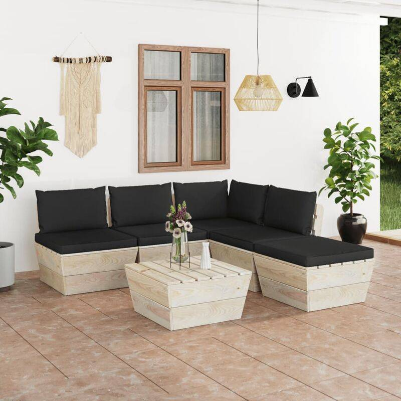 Vidaxl - Salon de jardin palette 6 pcs avec coussins Épicéa imprégné