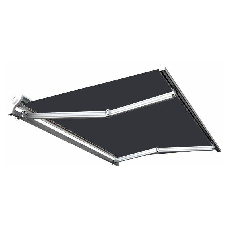 Sunny Inch ® - Store banne manuel Demi coffre pour terrasse - Gris