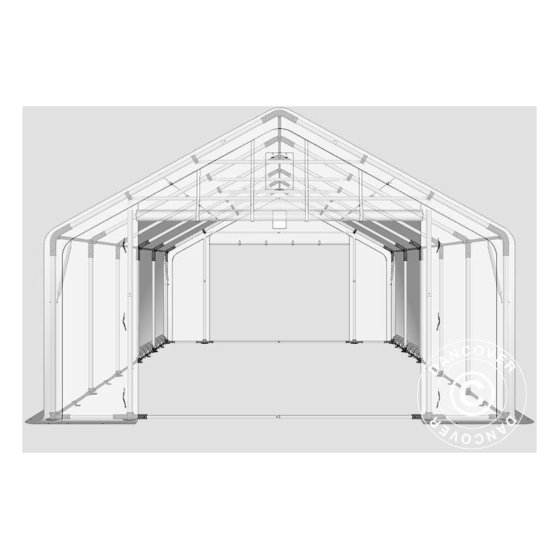 DANCOVER Tente de Stockage Tente Abri PRO 5x10x2x3,39m, PE, Gris - DANCOVER