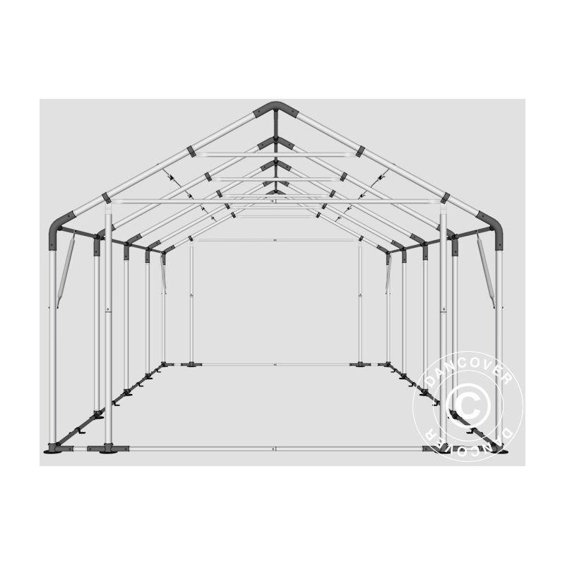 DANCOVER Tente de Stockage Tente Abri PRO 5x8x2,5x3,89m, PE, Gris - DANCOVER