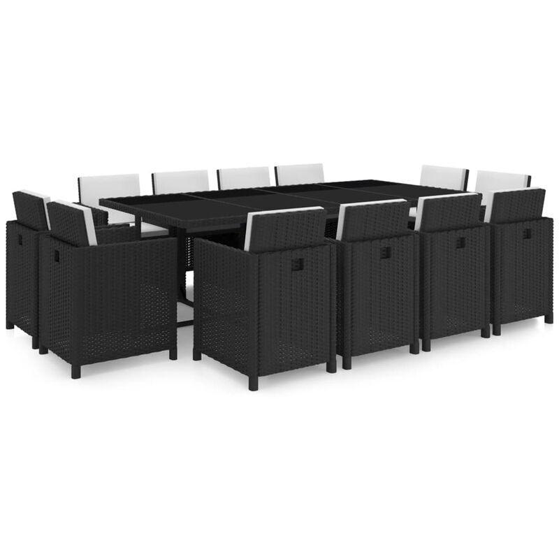Asupermall - Jeu de mobilier de jardin 37 pcs Noir Resine tressee