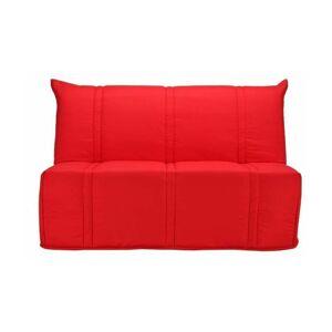 BULTEX Banquette BZ SANNA 140x190 cm 3 places - Tissu Rouge - L 143 x P - Publicité