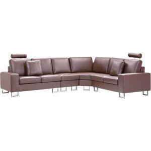 Beliani - Canapé angle à gauche 6 places en cuir marron STOCKHOLM - Publicité