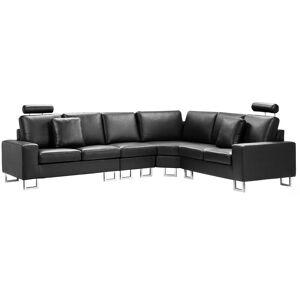 BELIANI Canapé angle à gauche en cuir noir 6 places STOCKHOLM - Publicité