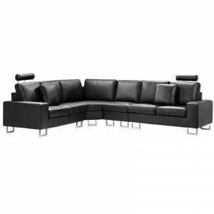 BELIANI Canapé angle à droite en cuir noir 6 places STOCKHOLM - Publicité