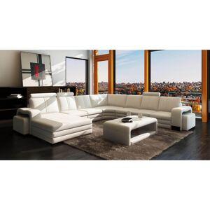 MOBILIER DECO CUBANA - Canapé d'angle panoramique en cuir blanc avec méridienne à - Publicité