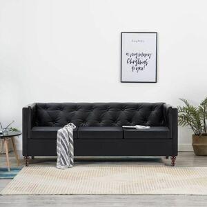 Hommoo Canapé chesterfield à 3 places Revêtement en similicuir Noir - Publicité