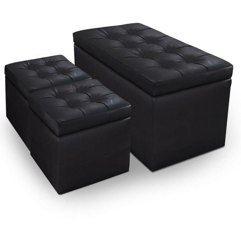 Cotecosy - Banc Coffre Panky + 2 poufs Noir - Noir