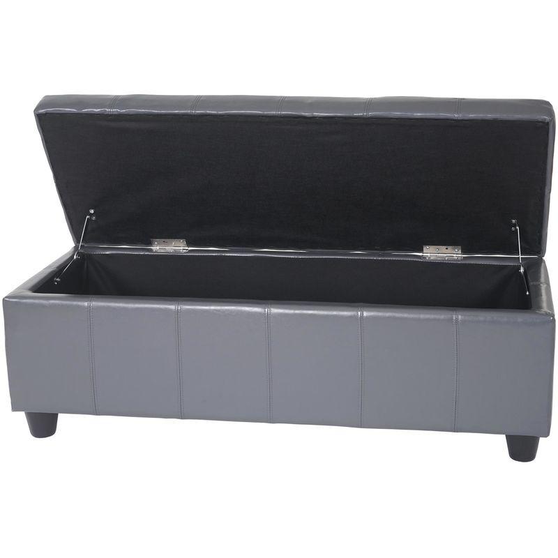 HHG Banquette Kriens, coffre, banc, cuir + similicuir, 112x45x45cm ~ gris