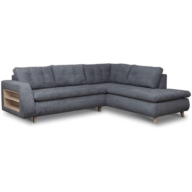 MOBILIER DECO BJORN - Canapé d'angle scandinave en tissu gris - Angle Droit