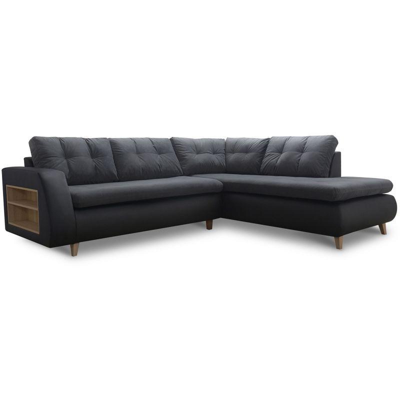 MOBILIER DECO BJORN - Canapé d'angle scandinave en tissu noir - Angle Droit