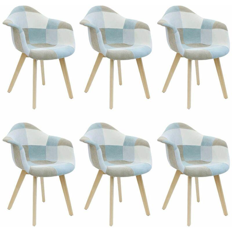Altobuy - DAMAS - Lot de 6 Fauteuils Patchwork Bleu Clair - Bleu