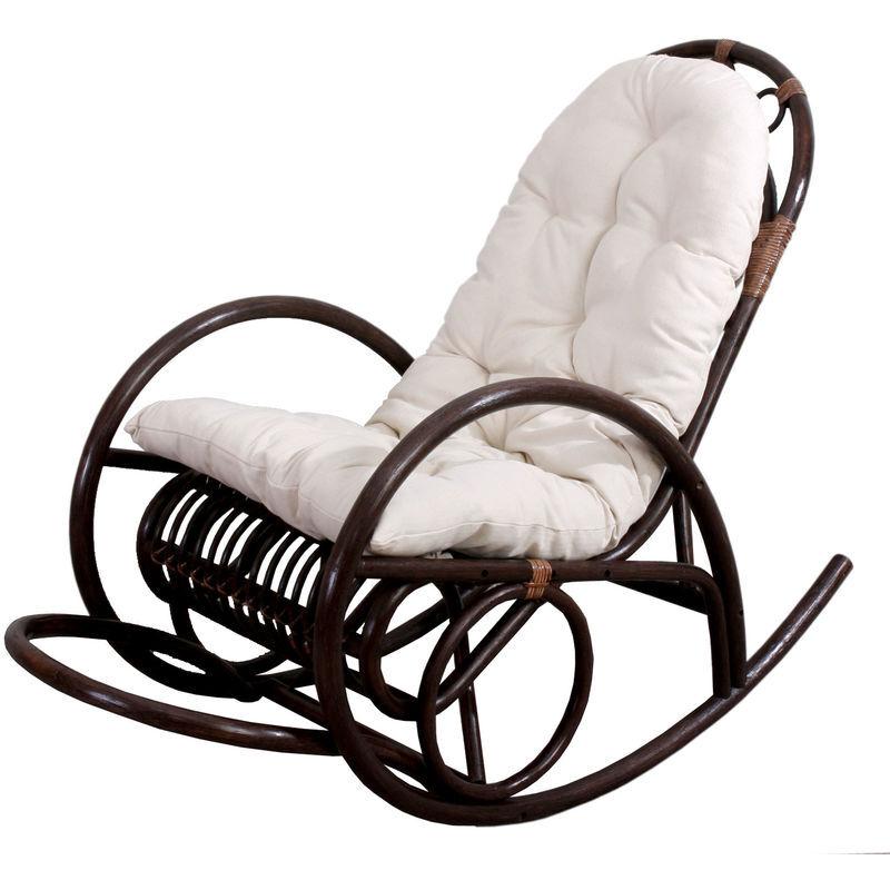 HHG Rocking-chair fauteuil à bascule HHG-648, bois marron, avec coussin