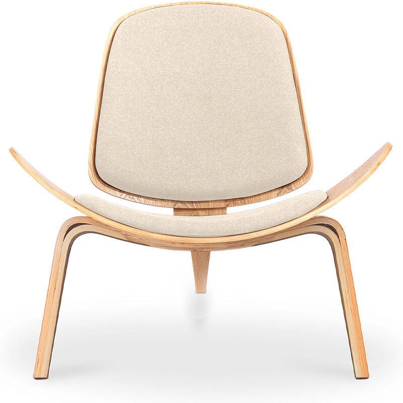 Privatefloor - Fauteuil CH07 armchair Wegner Style Ivoire