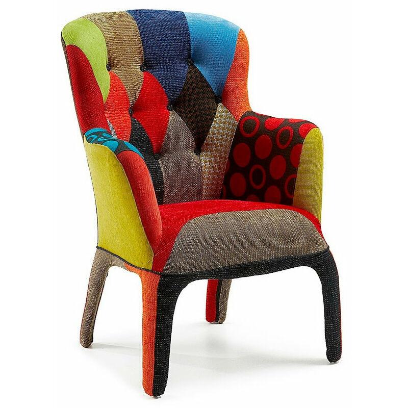FASHION COMMERCE Fauteuil Fashion Commerce en tissu patchwork fantaisie