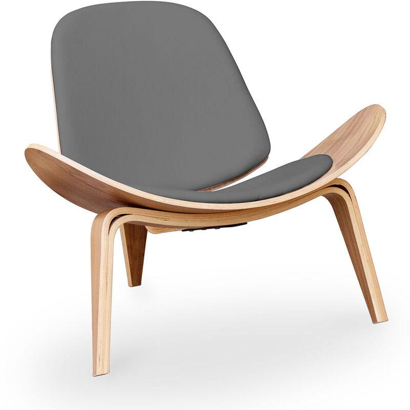 Privatefloor - Fauteuil lounge CW07 Design scandinave - Simili Cuir