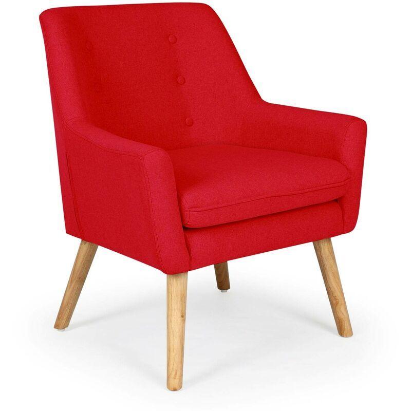 Cotecosy - Fauteuil scandinave Gustav tissu Rouge - Rouge