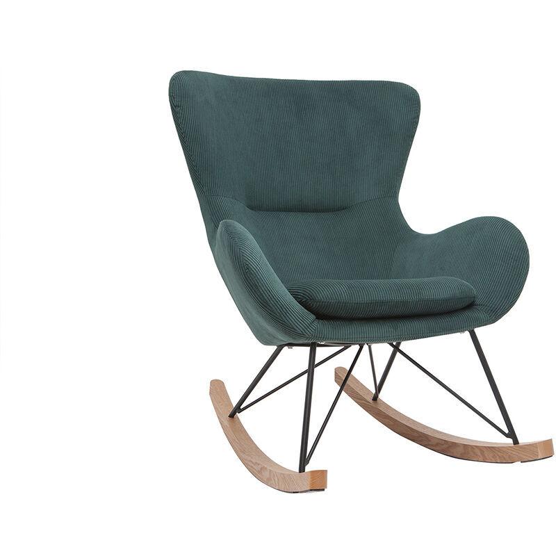 Miliboo - Rocking chair design velours côtelé vert ESKUA