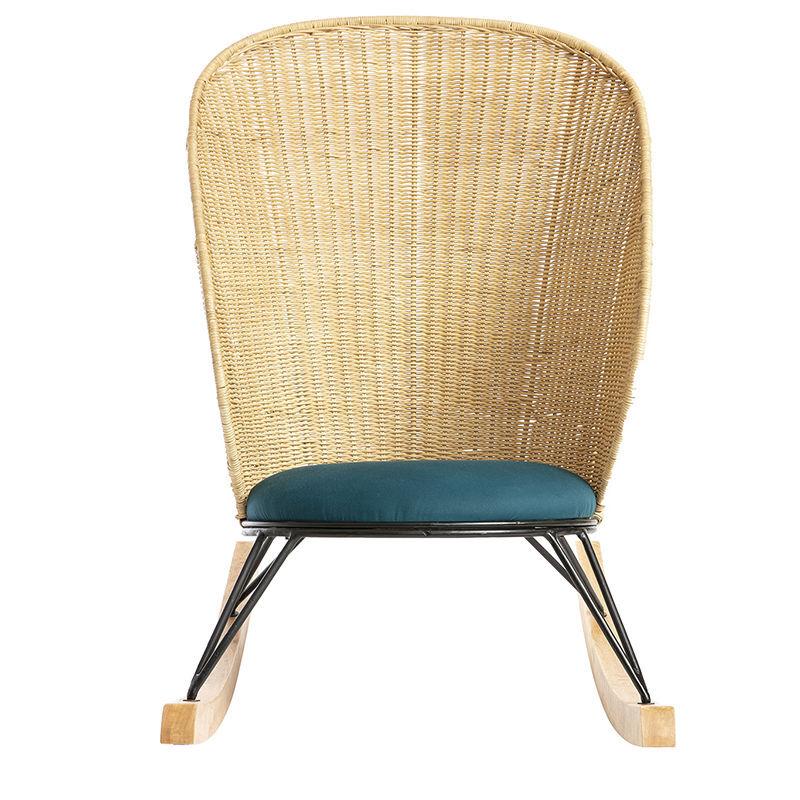 Miliboo - Rocking chair en rotin et tissu bleu pétrole ROBIN
