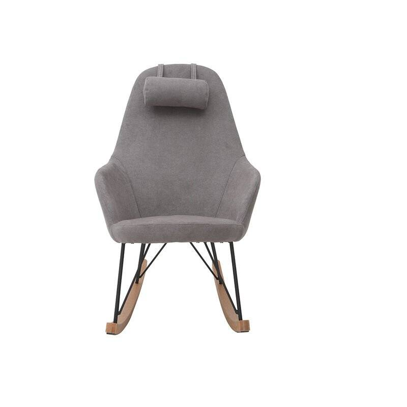 MILIBOO Rocking chair en tissu avec pieds métal JHENE - Gris clair velours