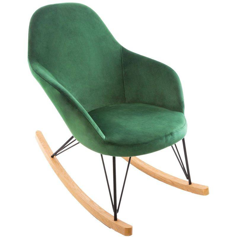 Atmosphera - Rocking chair en velours Ewan - Vert - Vert