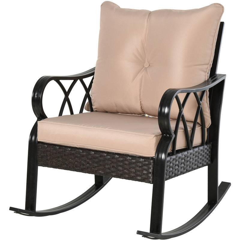 Outsunny Rocking chair fauteuil à bascule grand confort style cosy coussins
