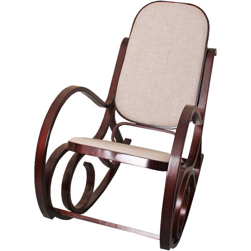 HHG Rocking-chair, fauteuil à bascule M41, imitation noyer, tissu beige