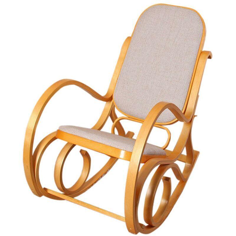 HHG Rocking-chair, fauteuil à bascule M41, imitation chêne, tissu beige