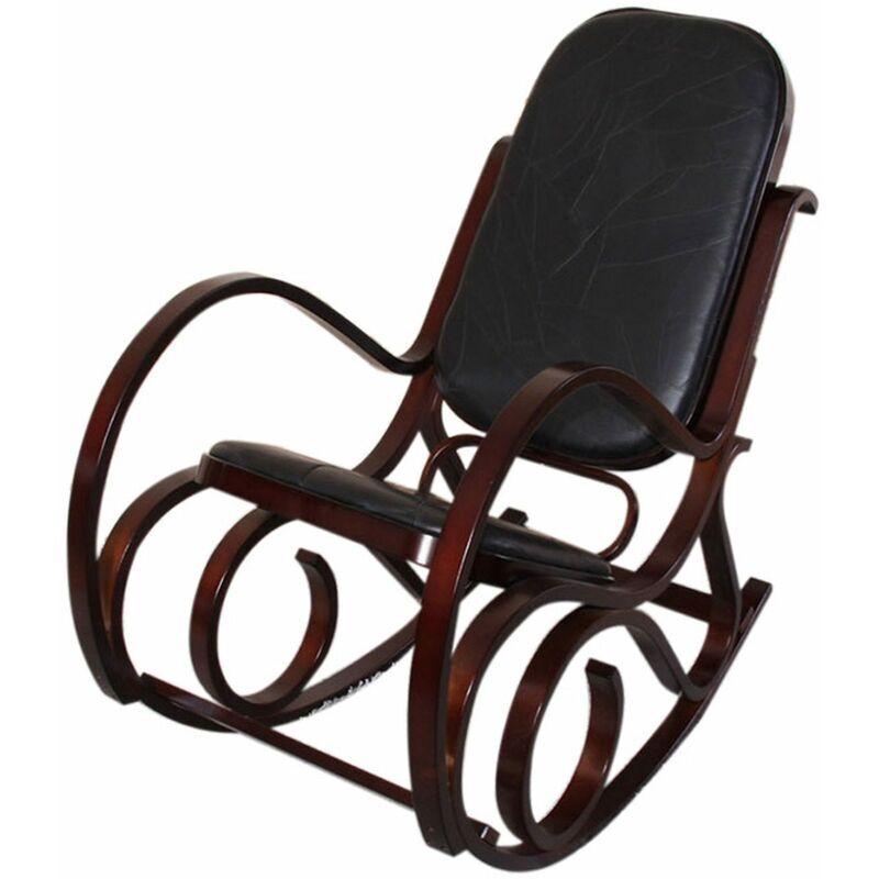 HHG Rocking-chair fauteuil à bascule M41, imitation noyer, cuir Patchwork,