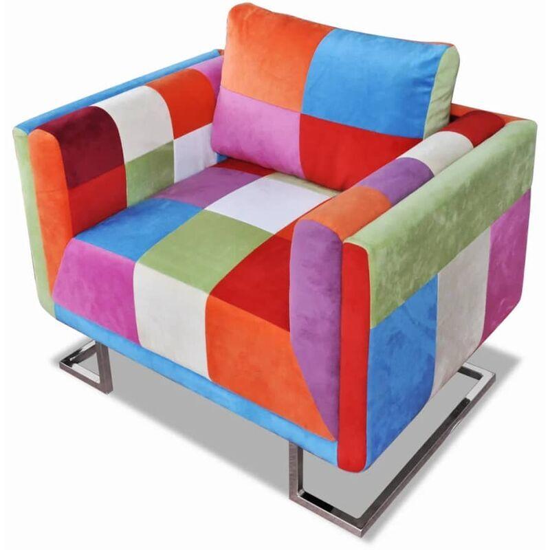 True Deal Fauteuil cube avec design de patchwork Chrome Tissu