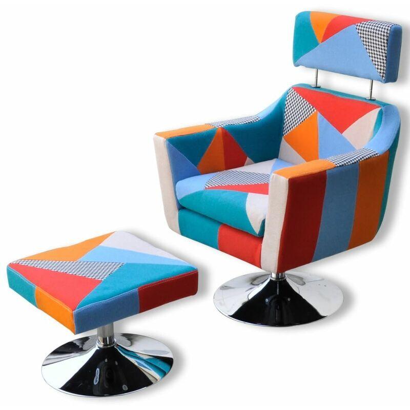 True Deal Fauteuil TV avec design de patchwork Tissu