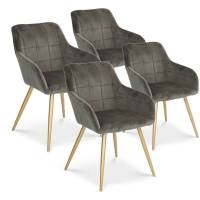 INTENSEDECO Lot de 4 chaises Noémie en velours gris pieds or <br /><b>339.00 EUR</b> ManoMano.fr