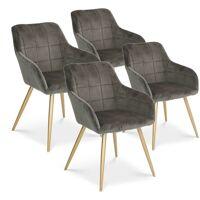 INTENSEDECO Lot de 4 chaises Noémie en velours gris pieds or <br /><b>339.00 EUR</b> ManoMano.fr