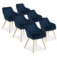Intensedeco - Lot de 6 chaises Noémie en velours bleu pieds or <br /><b>509.00 EUR</b> ManoMano.fr