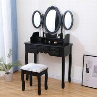 MADE4US MURIEL - Coiffeuse Table maquillage avec tabouret - Noir - 3 miroirs <br /><b>99.90 EUR</b> ManoMano.fr