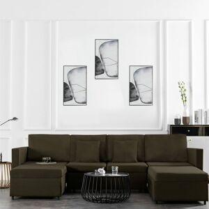 VIDAXL Canapé-lit extensible à 4 places Tissu Taupe - VIDAXL - Publicité
