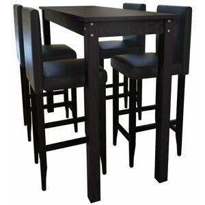 Helloshop26 - Lot de 4 tabourets de bar avec table haute noir - Noir - Publicité