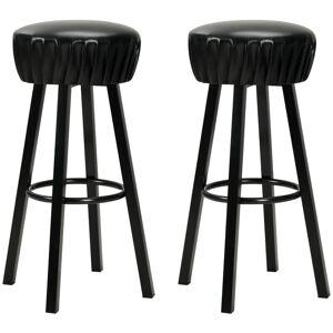 HELLOSHOP26 Lot de deux tabourets de bar design chaise siège similicuir noir - Noir - Publicité