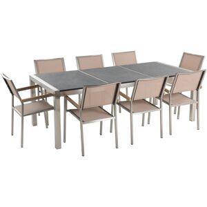 BELIANI Table de jardin plateau granit gris poli 220 cm 8 chaises beiges - Publicité