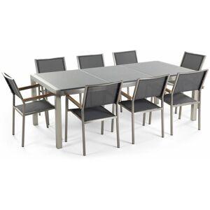 Beliani - Table de jardin plateau granit gris poli 220 cm 8 chaises - Publicité