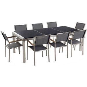 Beliani - Table de jardin plateau granit noir 220 cm 8 chaises grises - Publicité