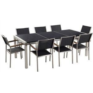 BELIANI Table de jardin plateau granit noir poli 220 cm 8 chaises noires - Publicité